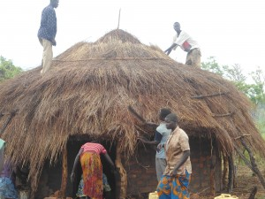 Thatching the roof on teacher hut one