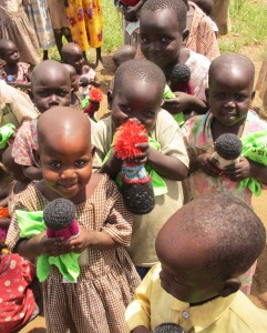 "Agwata Nursery students with newly donated ""Peace Dolls"""