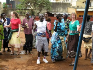 Volunteers dancing in Jinja, July 2012