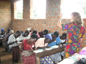 Volunteer Judy teaching numeracy class in Agwata, August 2012