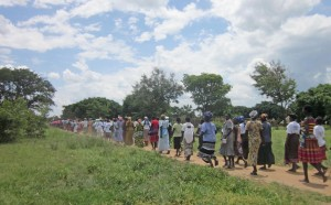 Women marching on the way to the site of the sub-county celebration in early May 2014.