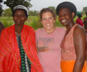 Leah with Paska, our child sponsorship coordinator, and one of the women in the Agwata women's group.
