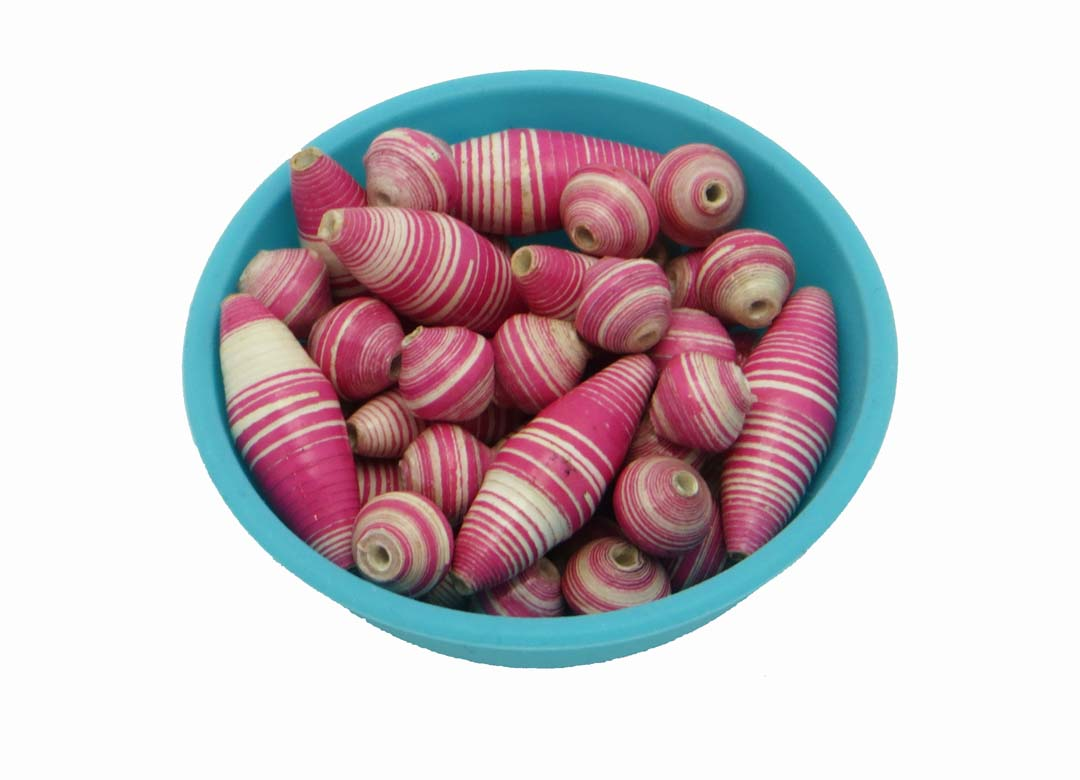 Pink & white striped oval beads
