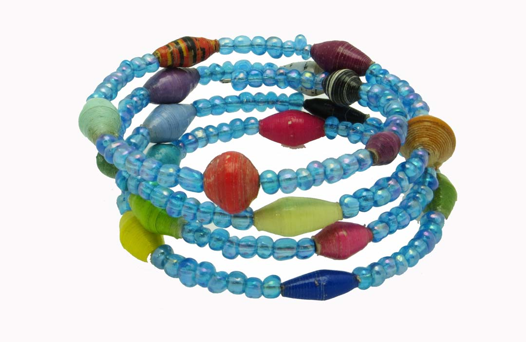 Wrap bracelet - multicolor with blue beads