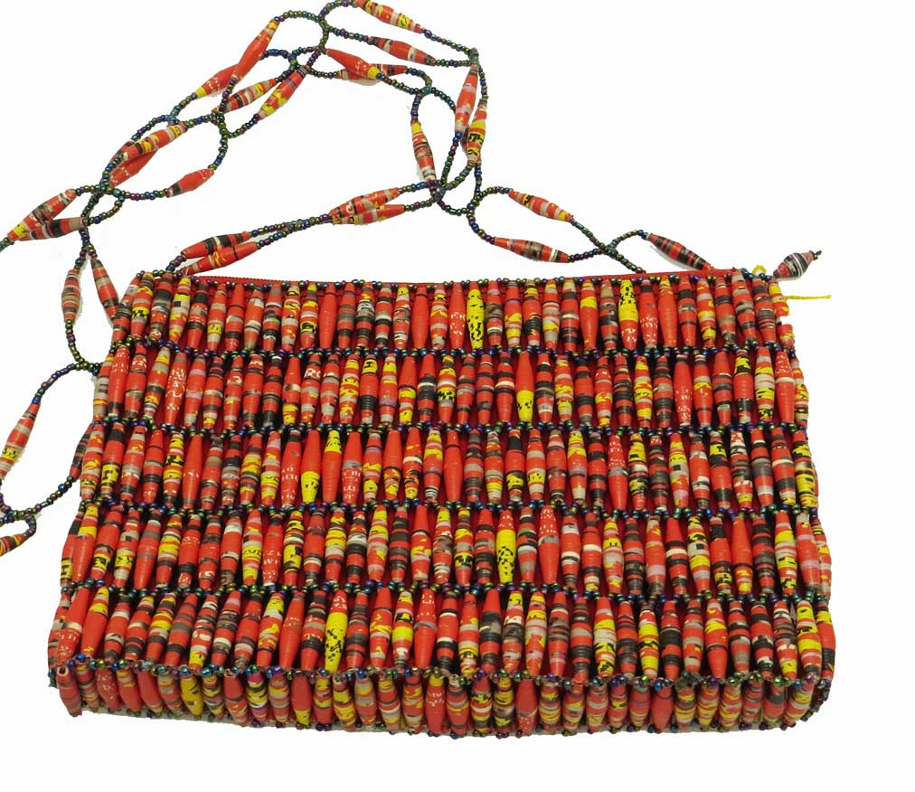 Beaded purse - red variegated