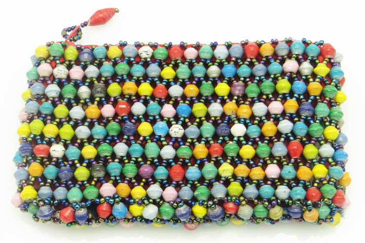 Coin purse - multi colored rounded beads