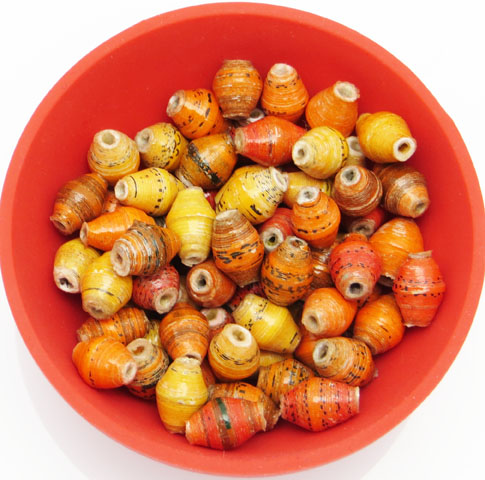 Mini cone beads - shades of orange