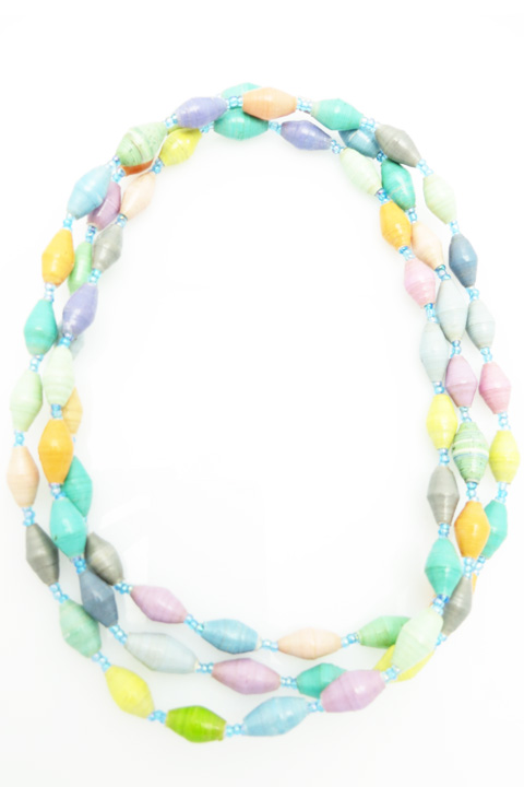 Multi-color pastel long necklace