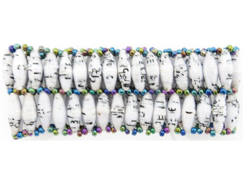 White w/ flecks double wide bracelet