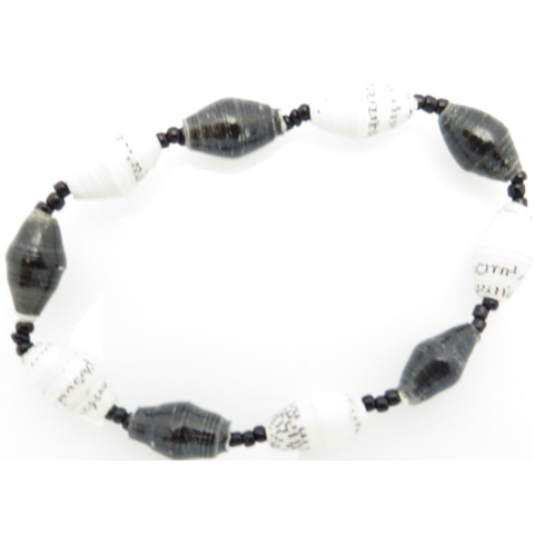 Bracelet - black & white alternating beads