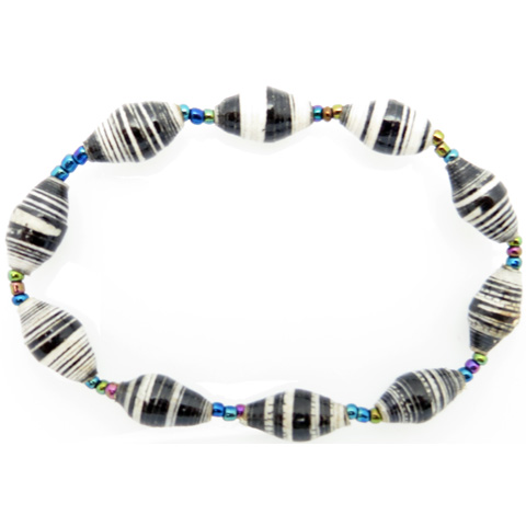 Bracelet - black & white striped