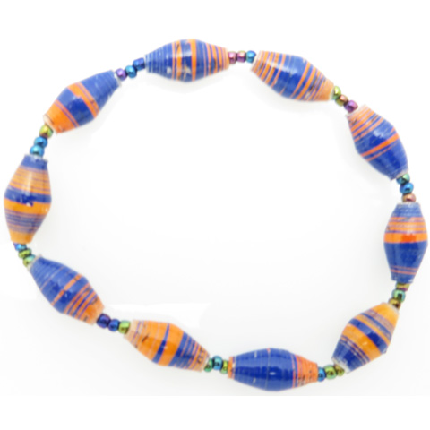 Bracelet - blue & orange striped