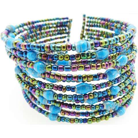 Beaded cuff bracelet - turquoise