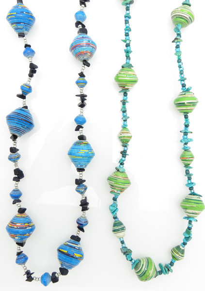 *NEW* Turquoise & paper bead blends gigantic bead necklace