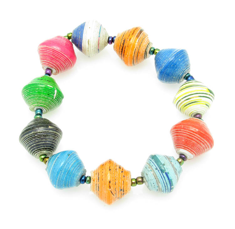 Bracelet - multi-color round bead