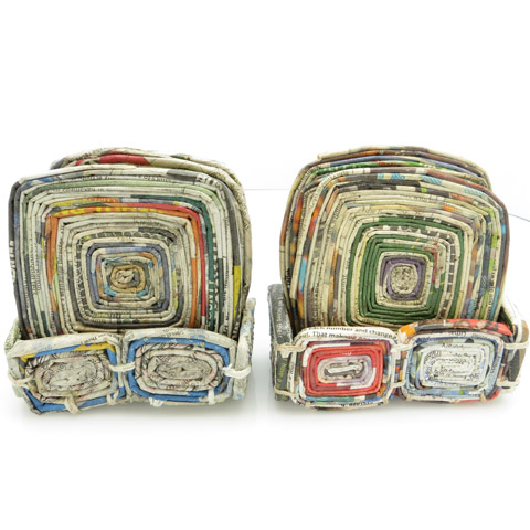 Coasters (rolled newspaper w/ holder) - set of 4