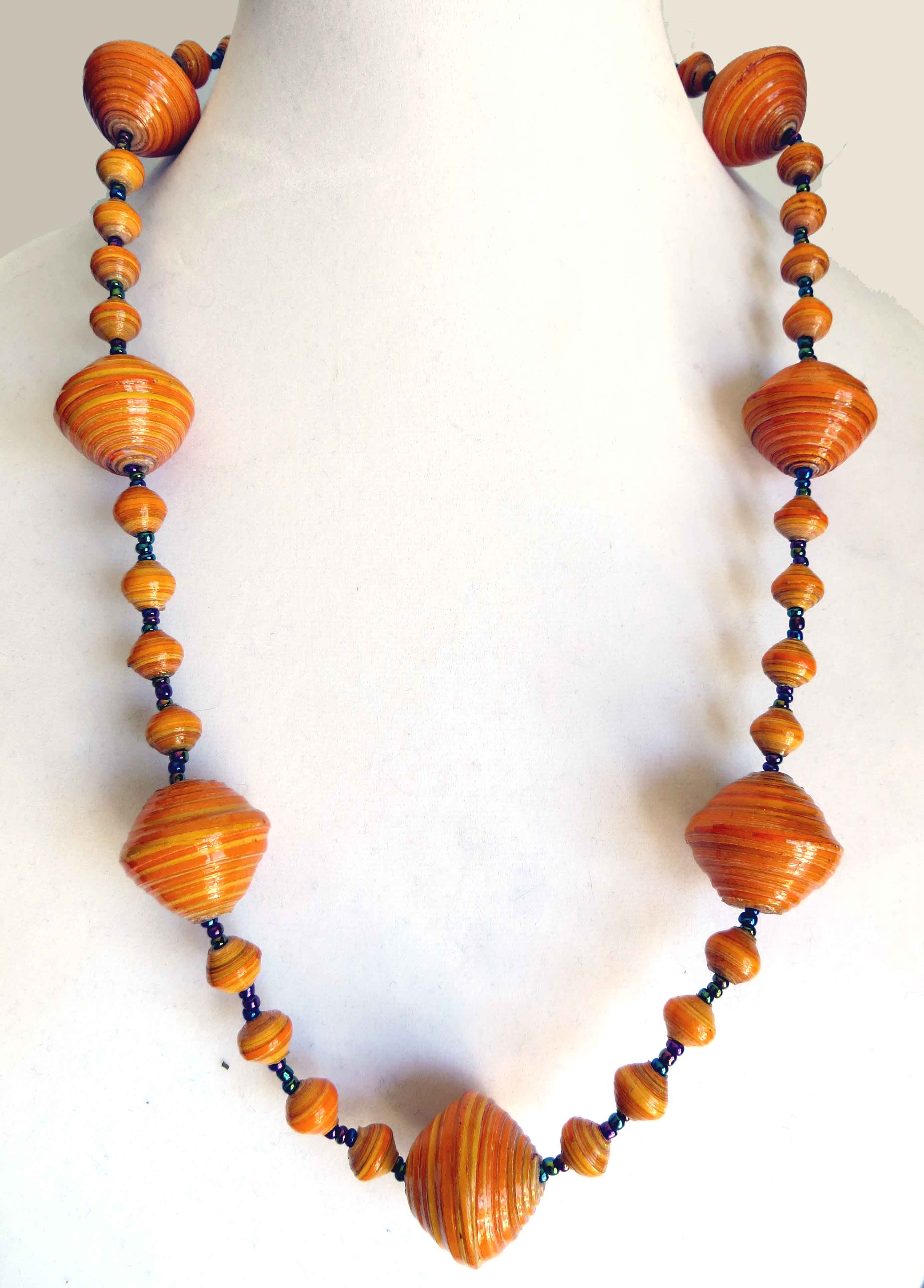 Orange gigantic bead necklace