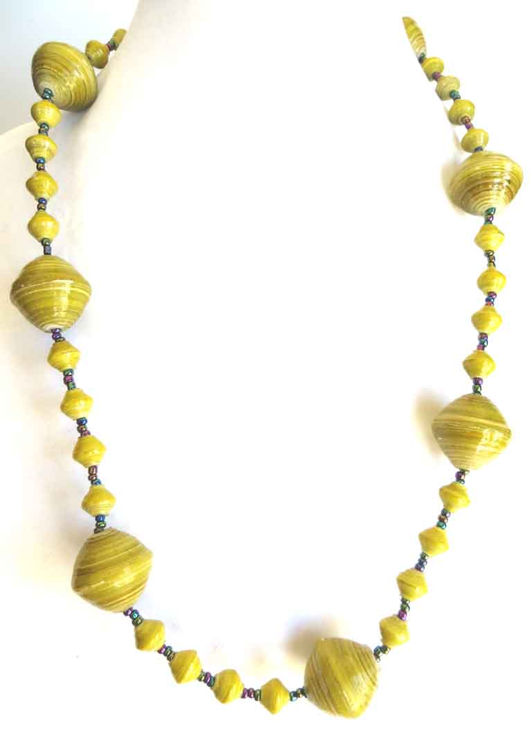 Yellow and purplish brown striped gigantic bead necklace