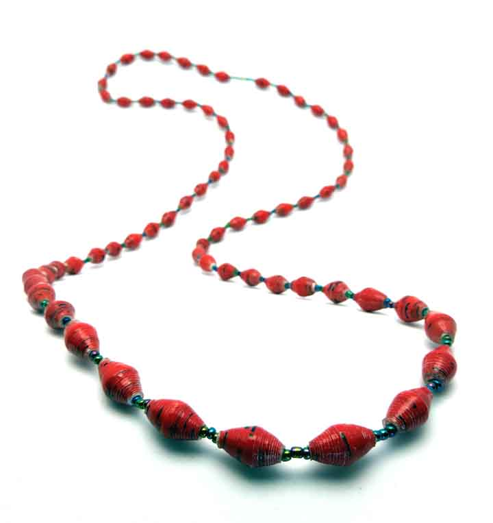 Red and black long necklace