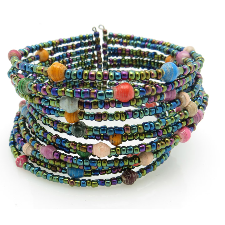 Beaded cuff bracelet - multicolor