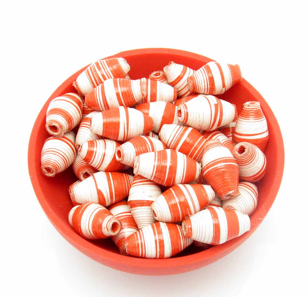 Red & white striped beads