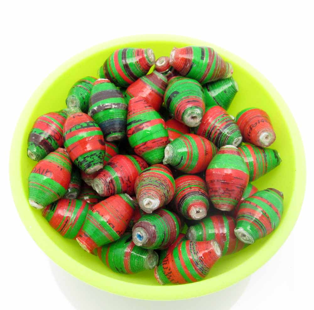 Green & red striped beads