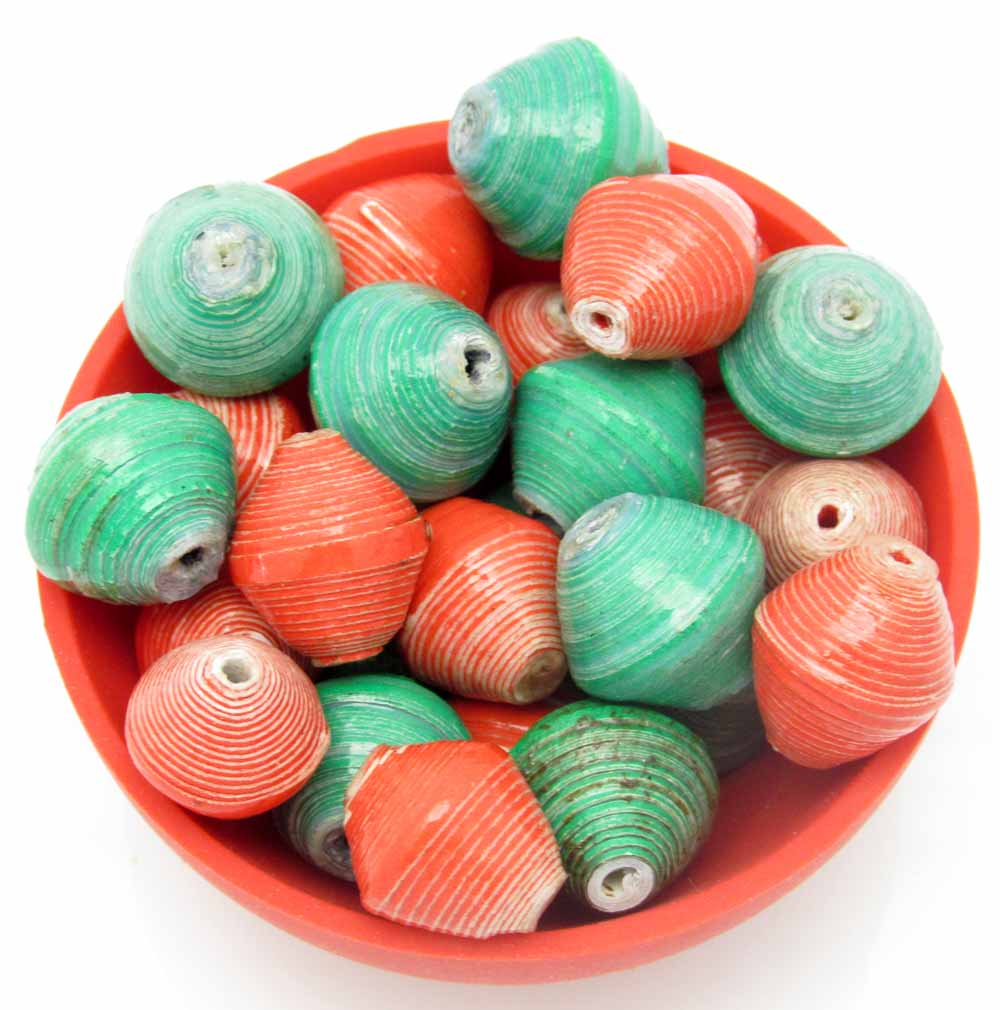 Round beads - red & green mix
