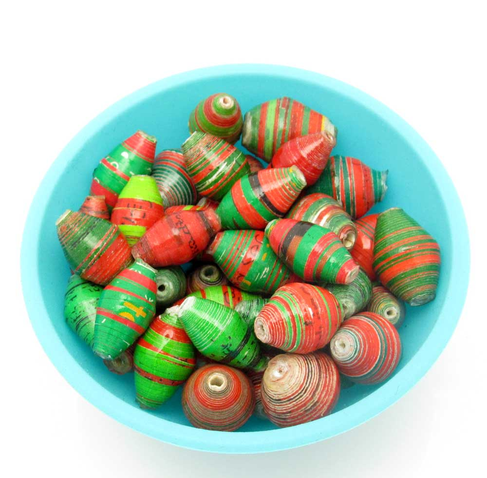 Green and red striped beads