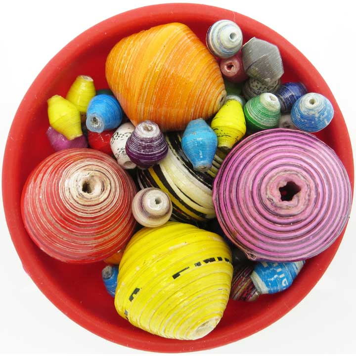 Gigantic multi-color beads mixed with small ones