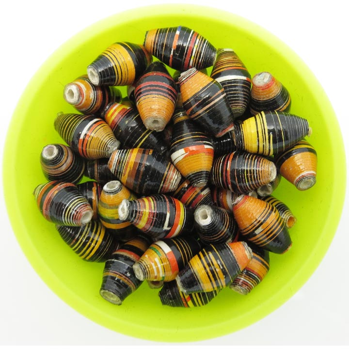 Black & gold striped beads