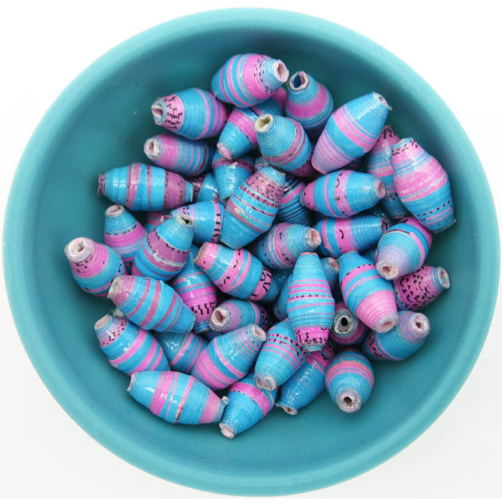 Pink & blue striped beads