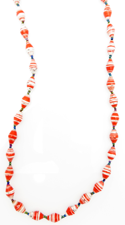 Red & white striped necklace