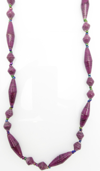 Purple oval bead necklace
