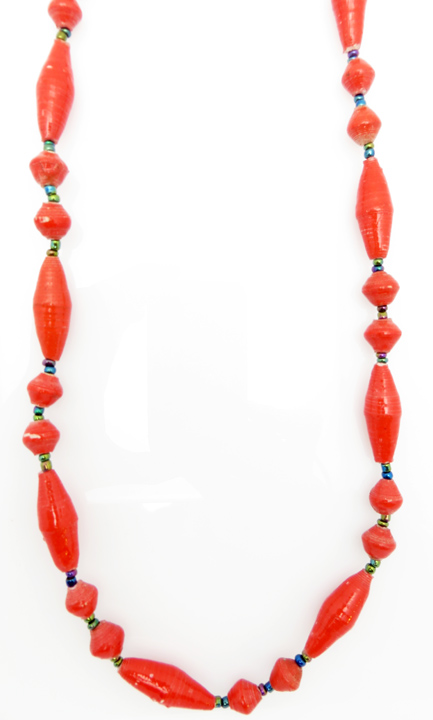 Red oval bead necklace