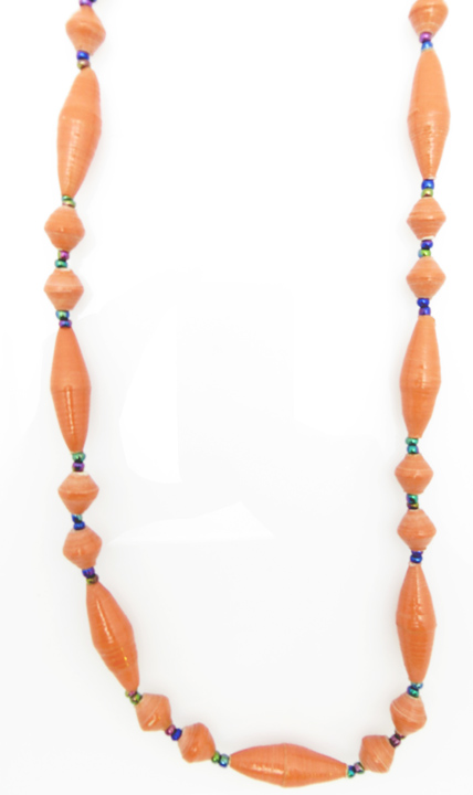 Melon oval bead necklace