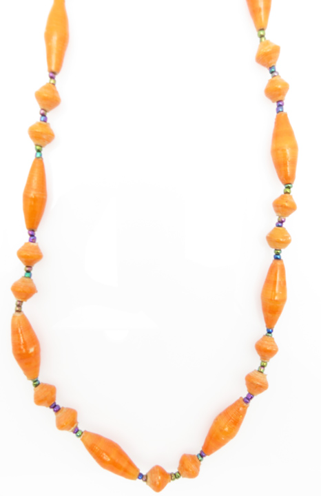 Orange oval bead necklace