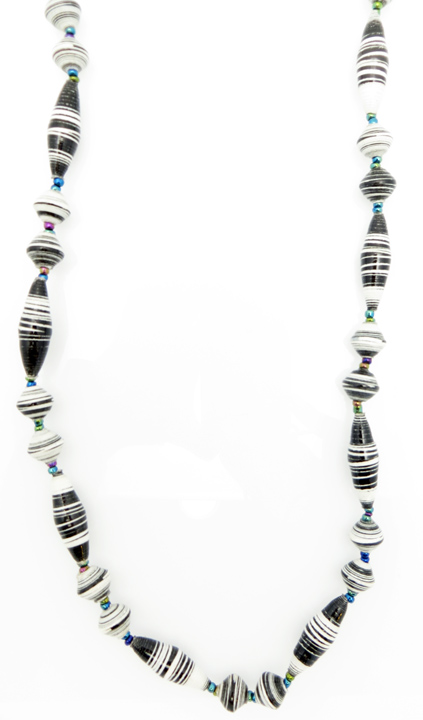 Black & white striped oval bead necklace