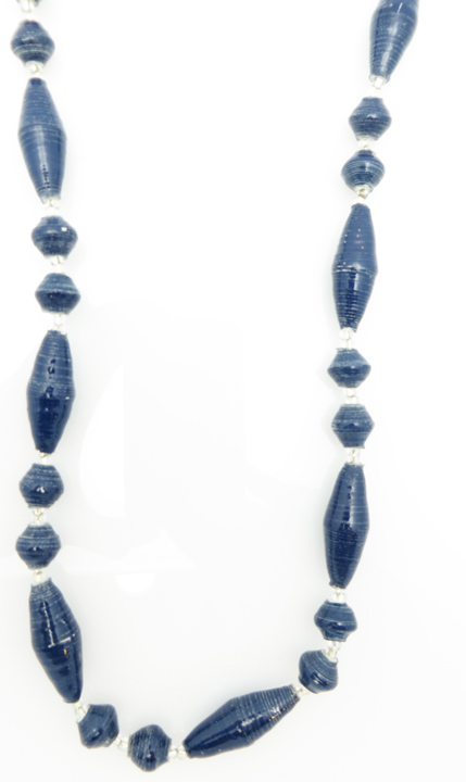 Navy blue oval bead necklace
