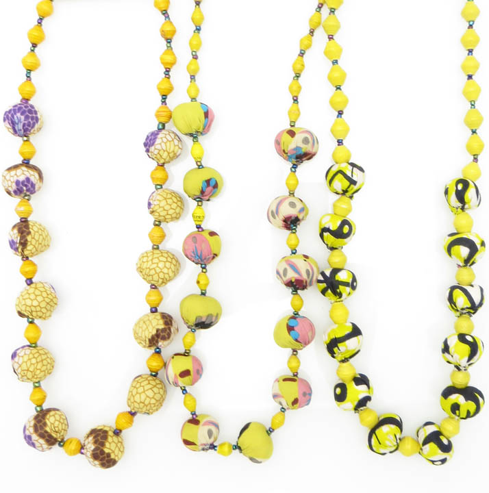 *Cloth & paper bead necklace - yellows