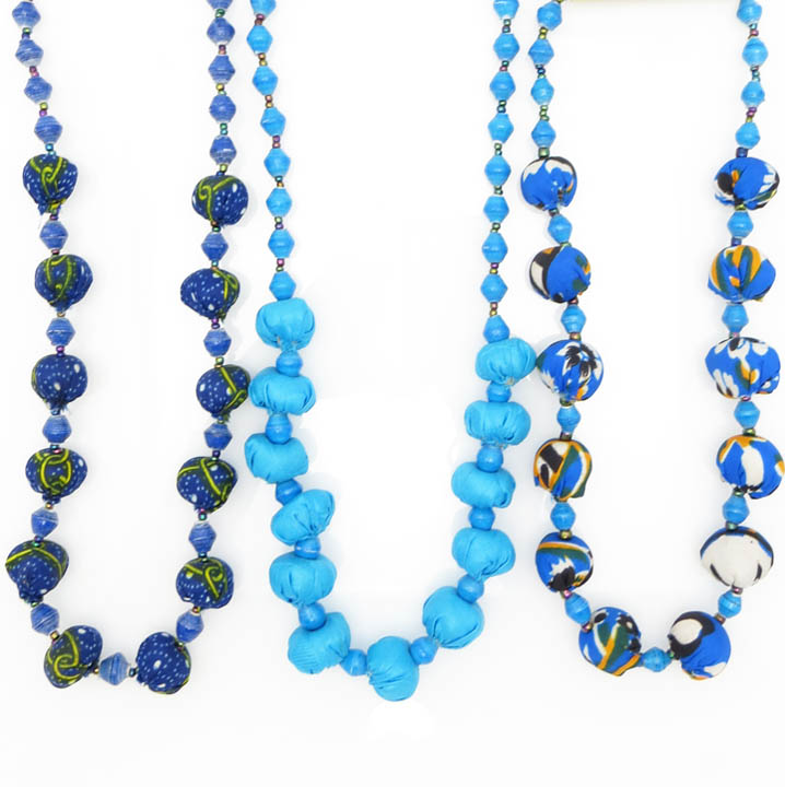 *Cloth & paper bead necklace - blues