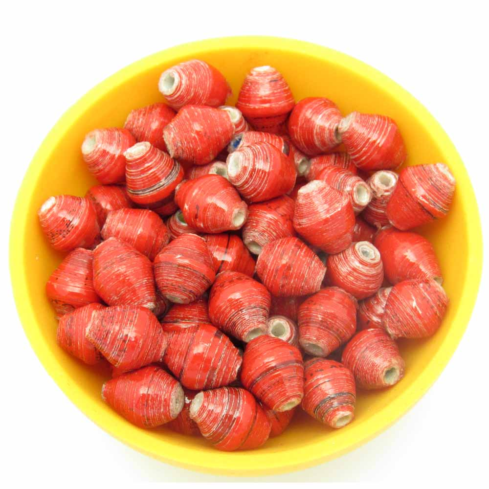 Mini cone beads - red