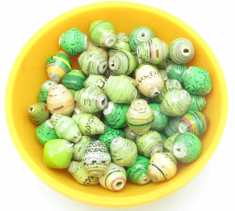 Mini cone beads - shades of green