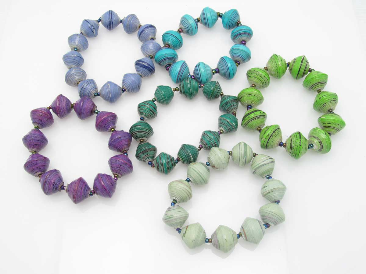 Bracelet - round bead solids in blue green purple blends