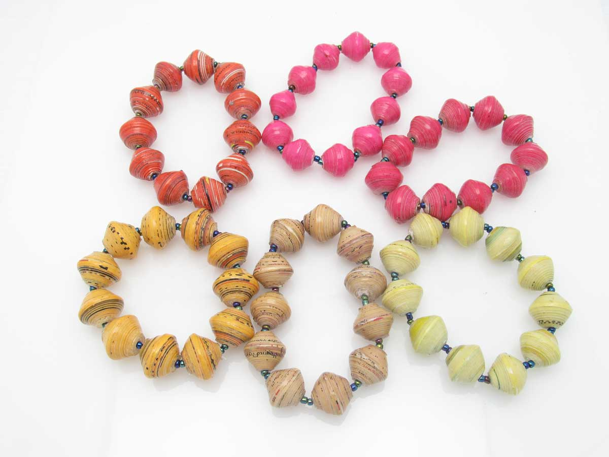 Bracelet - round bead solids in pink orange yellow blends