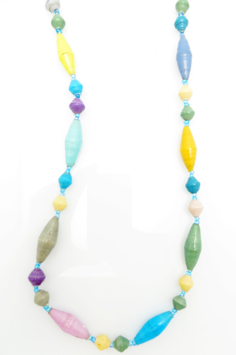 Multi-color oval bead necklace - pastel