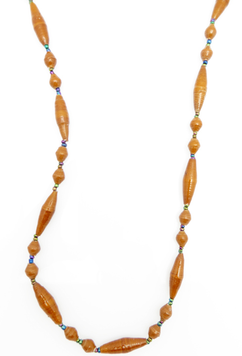 Caramel oval bead necklace