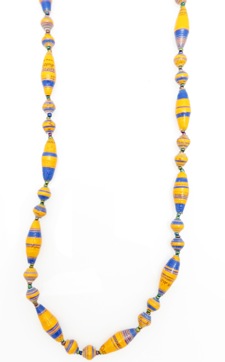 Orange & blue striped oval bead necklace