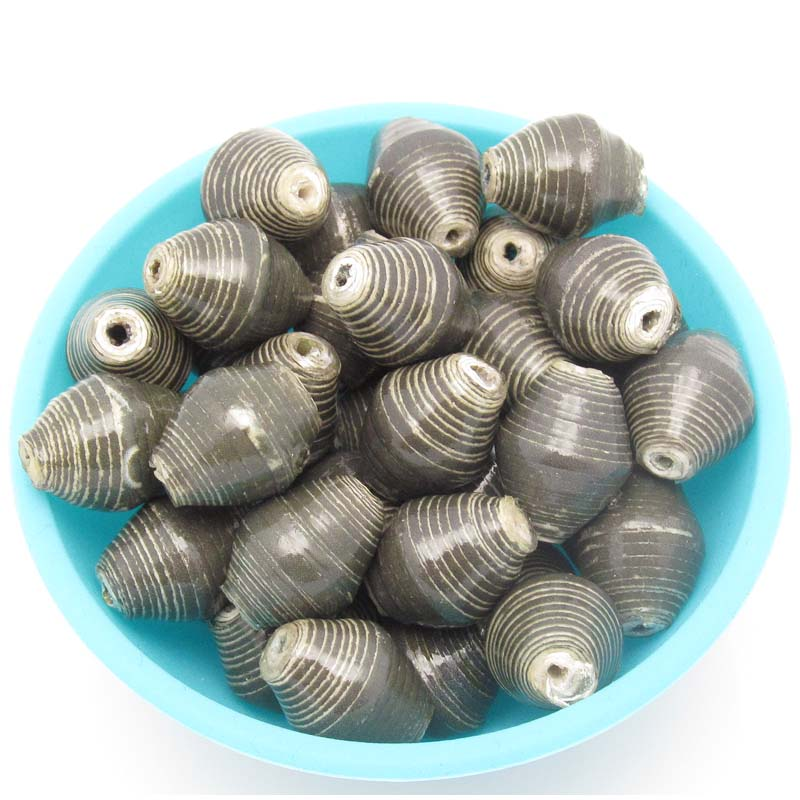 Gray (dark or charcoal) beads