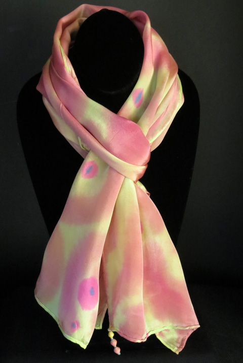 Silk scarf - rose & muted yellow
