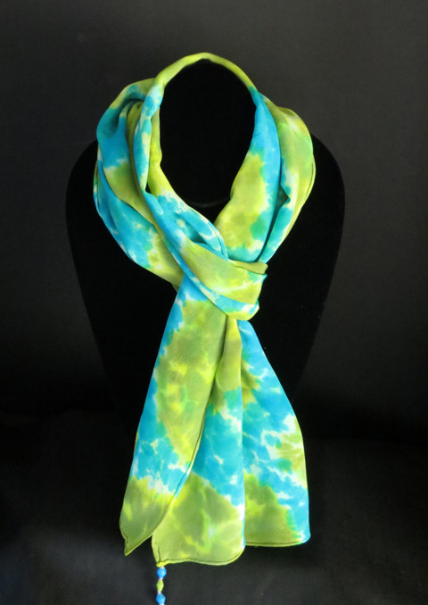 Silk scarf - lime & turquoise patterned